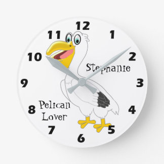 Personalized Pelican Design Round Clock