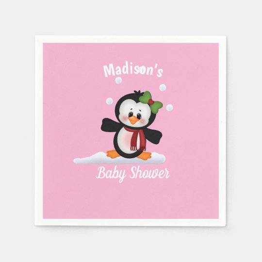 Personalized Penguin Baby Shower Disposable Napkin