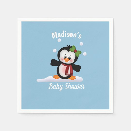Personalized Penguin Baby Shower Disposable Napkins