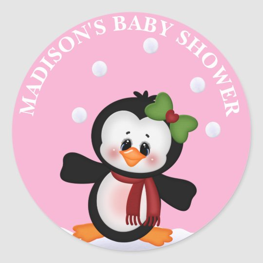 Personalized Penguin Baby Shower Sticker