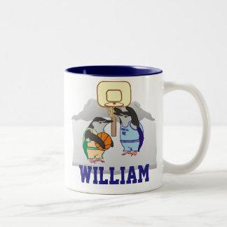 Personalized Penguin Basketball Two-Tone Coffee Mug