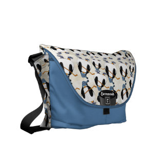 Personalized Penguin Hockey Messenger Bag