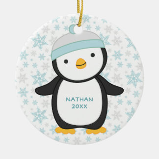Personalized Penguin Snowflake Christmas Ornament