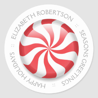 Personalized Peppermint Classic Round Sticker