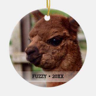 Personalized Pet Alpaca Photo Name Christmas Tree Ceramic Ornament