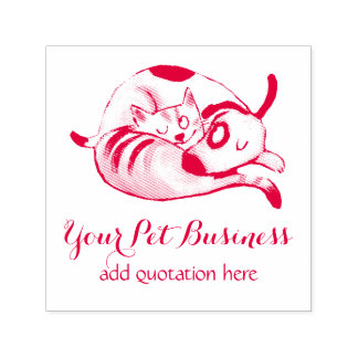 personalized pet business cat and dog self-inking stamp