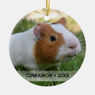 Personalized Pet Guinea Pig Photo Christmas Tree Ceramic Ornament