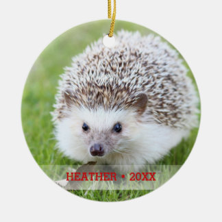 Personalized Pet Hedgehog Photo Christmas Tree Ceramic Ornament