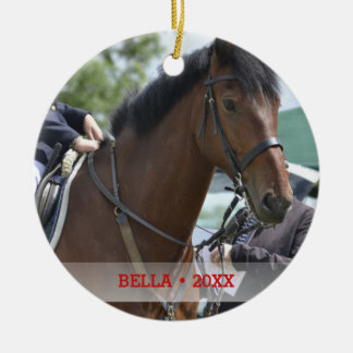 Personalized Pet Horse Photo & Name Christmas Tree Ceramic Ornament
