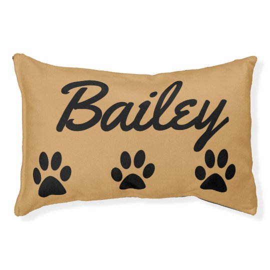 Personalized Pet Name Paw Prints Pet Bed
