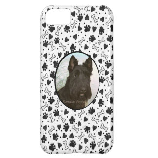 Personalized Pet Photo Black and White Dogbone Paw Cover For iPhone 5C