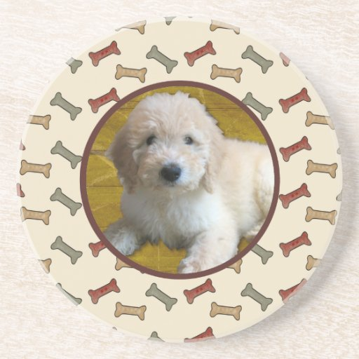 Personalized Pet Photo Dog Bone Picture Frame Drink Coasters