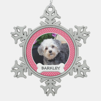 Personalized Pet Photo with Dog Bone Snowflake Pewter Christmas Ornament