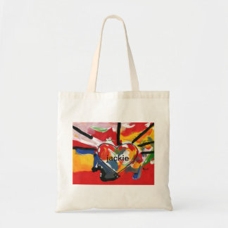 Personalized Peter Max Art Style heart tote bag