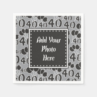 Personalized Photo 40th Birthday Party Paper Napkins
