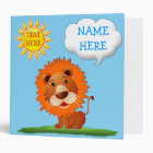 Personalized Photo Albums for Kids with Cute Lion 3 Ring Binder