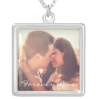 Personalized photo and quote silver plated necklace