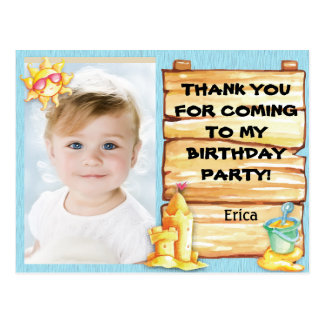 Personalized Photo Beach Birthday Thank You Postcard
