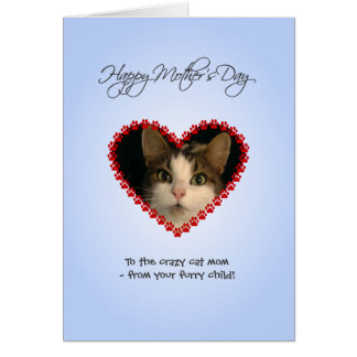 Personalized photo cat mom Mothers Day Card