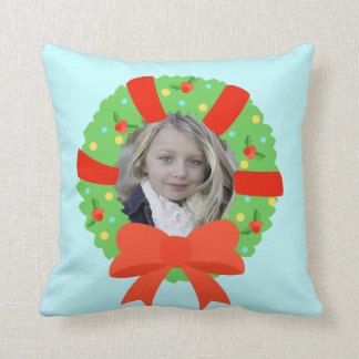 Personalized Photo Christmas Wreath Throw Pillow
