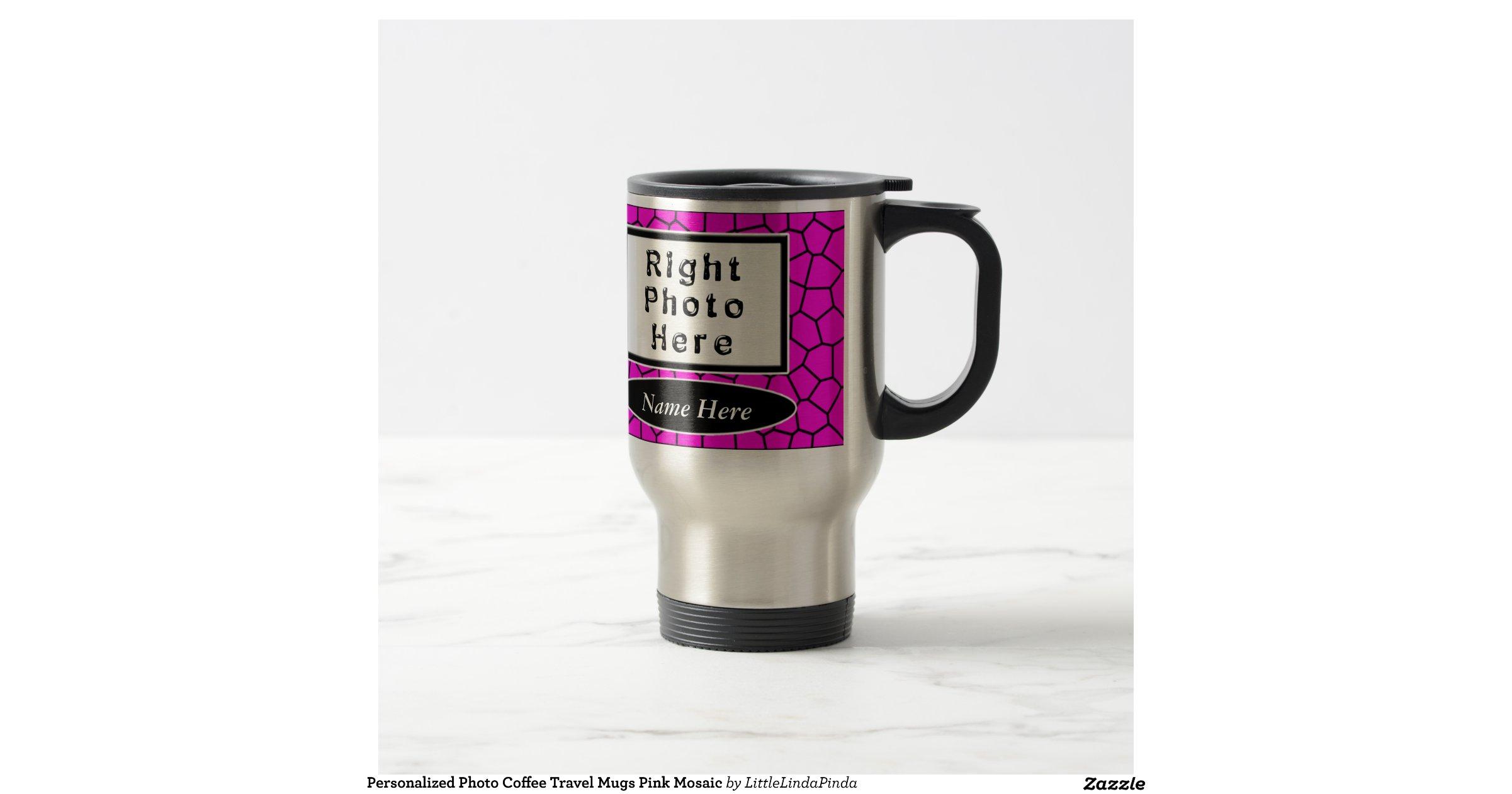 Personalized Photo Coffee Travel Mugs Pink Mosaic Zazzle