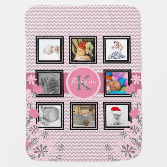 Personalized Photo Collage | Pink Chevron Floral Baby Blanket