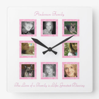 Personalized Photo Collage Wall Clock: Pink Clocks