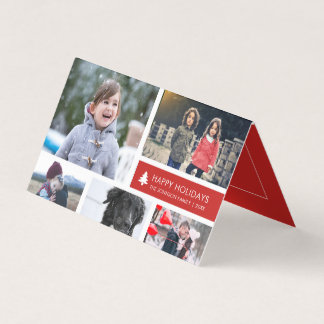 Personalized Photo Collage Xmas Red Stripes Card