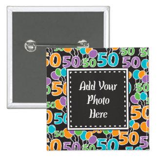 Personalized Photo Colorful 50th Birthday 2 Inch Square Button