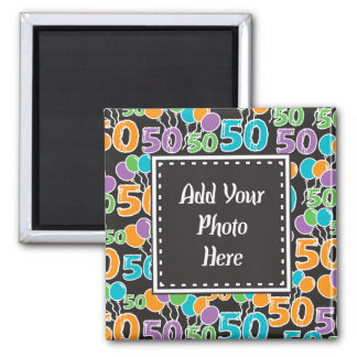 Personalized Photo Colorful 50th Birthday Square Magnet