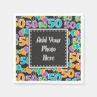 Personalized Photo Colourful 50th Birthday Paper Napkin