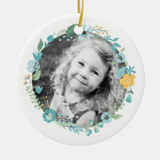 Personalized Photo Delicate Floral Wreath Round Ceramic Ornament