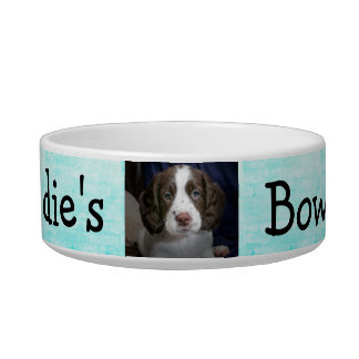 Personalized Photo Dog Bowl Aqua Blue