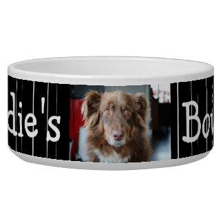 Personalized Photo Dog Bowl Black and White stripe