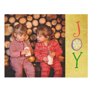 Personalized Photo Family Christmas Joy Gold Card