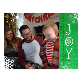 Personalized Photo Family Christmas Joy Green Postcard