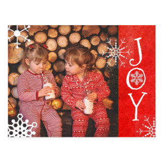 Personalized Photo Family Christmas Joy Red  Card