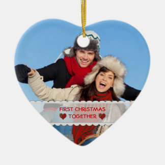 Personalized Photo First Christmas Together Heart Ceramic Ornament