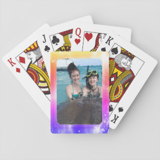 Personalized Photo Frame Bright Girly Pastel Playing Cards