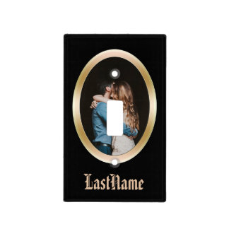 Personalized Photo Frame Gold Black Switchplate