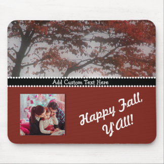 Personalized Photo Gift Custom Text Happy Fall Mouse Pad