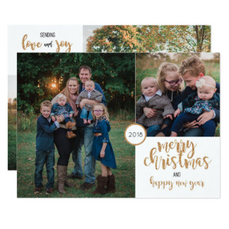 Personalized Photo Gold Glitter Christmas Card