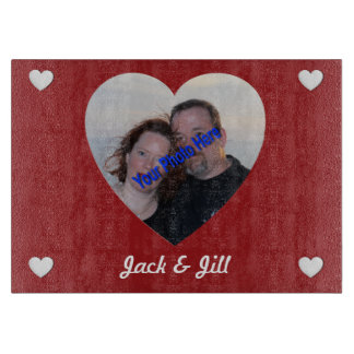 Personalized Photo Heart Shaped Cutting Board