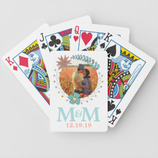 Personalized Photo Monogram Boho Floral Wedding Bicycle Playing Cards