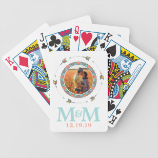 Personalized Photo Monogram Boho Wedding Bicycle Playing Cards