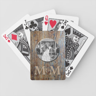 Personalized Photo Monogram Rustic Wood Wedding Bicycle Playing Cards
