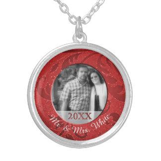 Personalized Photo Mr. Mrs. Newlyweds Keepsake Silver Plated Necklace