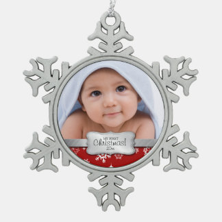 Personalized Photo - My 1st Christmas Pewter Snowflake Ornament