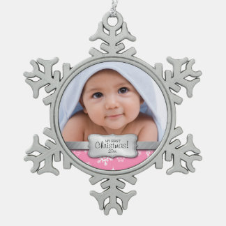 Personalized Photo - My 1st Christmas Snowflake Pewter Christmas Ornament