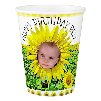 Personalized Photo Sunflower Birthday Paper Cups